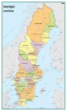 svensk karta län Väggkarta Sveriges landskap svensk karta län