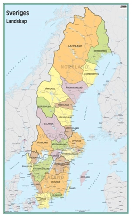 Vaggkarta Sveriges Landskap